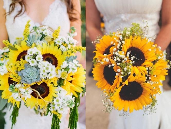 Svatební kytice a slunečnice