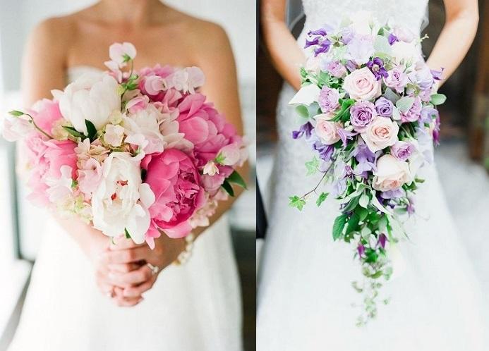 Svatba a růžová kytice